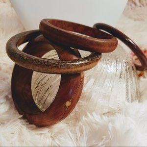 Vintage 70's Genuine Wood Bracelet Set